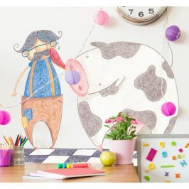 Sticker enfant vache fermier