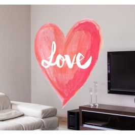 Sticker coeur en aquarelle Love