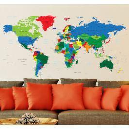Évaluation du produit Sticker carte monde couleurs Carte du monde